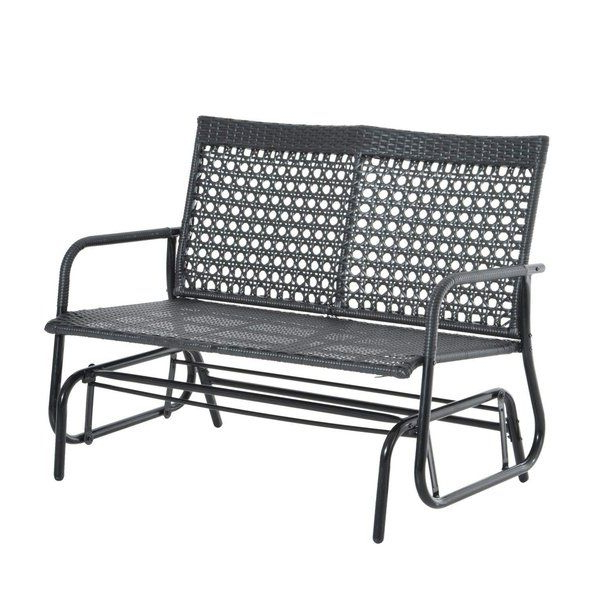 Newest Shop Outsunny Black Steel Rattan 47 Inch Outdoor Patio Regarding Aluminum Outdoor Double Glider Benches (Gallery 8 of 20)