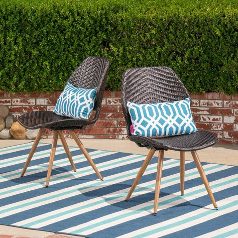 Noble House Bianca Stationary Wicker Outdoor Dining Chair (2 Within Popular Outdoor Wicker Plastic Half Moon Leaf Shape Porch Swings (Gallery 12 of 20)