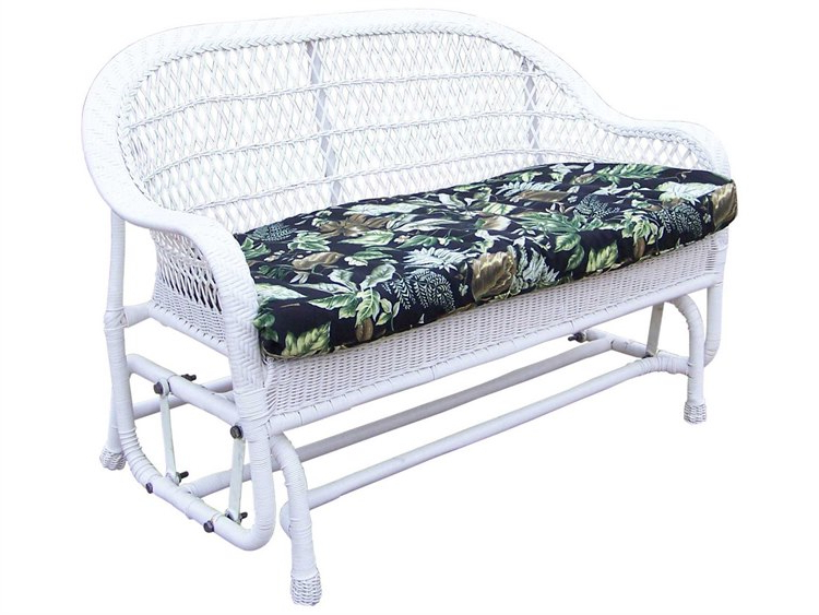 Oakland Living Resin Wicker Coventry Glider With Black Floral Cushion With Regard To Most Popular Cushioned Glider Benches With Cushions (View 17 of 20)
