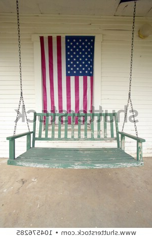 Old Swing On Porch Displaying American Stock Photo (edit Now Regarding Popular American Flag Porch Swings (View 7 of 20)