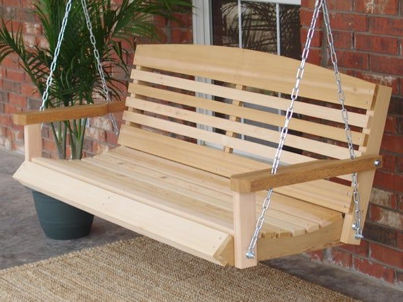 Our American Ceder Porch Swing Features A Contoured Seat For With Fashionable Contoured Classic Porch Swings (View 5 of 20)