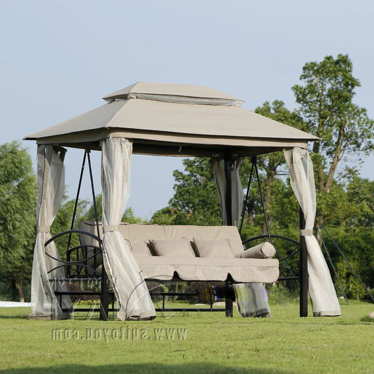 Outdoor 3 Person Patio Daybed Canopy Gazebo Swing Tan W/ Mesh Walls Hammock Outdoor Chair Swing Hammock Gazebo In Patio Swings From Throughout Well Known Rosean Porch Swings (View 19 of 20)