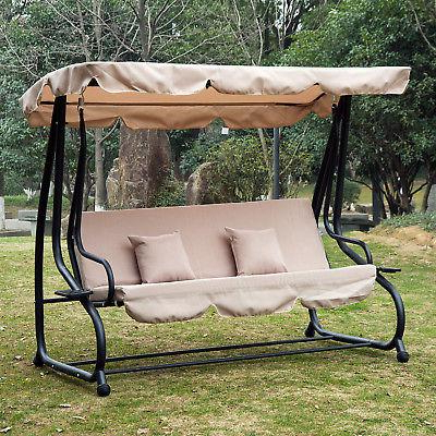 Outdoor 3 Person Patio Porch Swing Hammock Bench Canopy Intended For Most Recent Patio Loveseat Canopy Hammock Porch Swings With Stand (View 6 of 20)