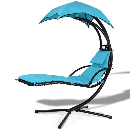 Outdoor Canopy Hammock Porch Swings With Stand Inside Most Recently Released Hanging Arc Stand Porch Swing Hammock Chair With Canopy (View 13 of 20)