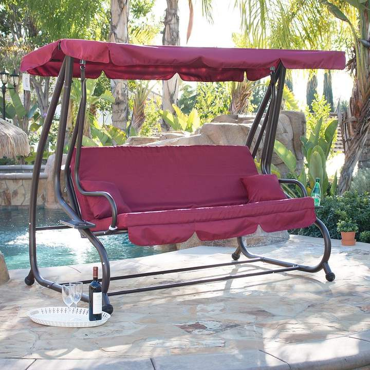 Outdoor Canopy Hammock Porch Swings With Stand Pertaining To Most Popular Fleur De Lis Living Mossley Canopy Porch Swing With Stand In (View 6 of 20)