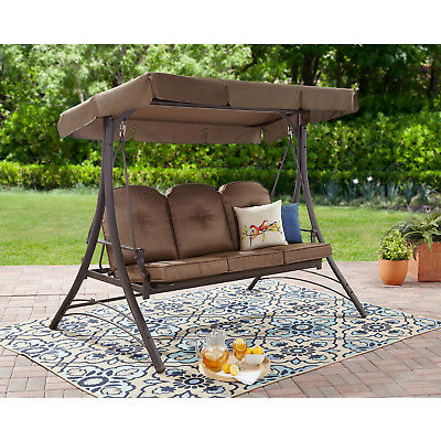 Outdoor Canopy Swing Porch Sling 3 Person Backyard Garden Intended For Most Current 3 Person Brown Steel Outdoor Swings (View 7 of 20)