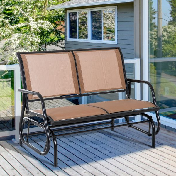 Outdoor Fabric Glider Benches For 2020 Outsunny Steel Sling Fabric Patio Outdoor Glider Double Swing Chair – Brown (View 16 of 20)