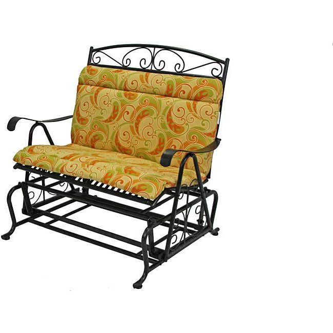 Outdoor Fabric Glider Benches Pertaining To Famous Blazing Needles All Weather Yellow Paisley Outdoor Double (View 10 of 20)