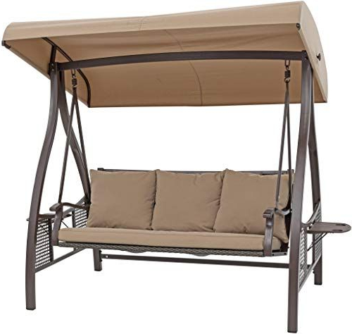 Outdoor Patio Backyard Garden Free Standing 3 Person Porch With Regard To Best And Newest 3 Person Outdoor Porch Swings With Stand (View 14 of 20)