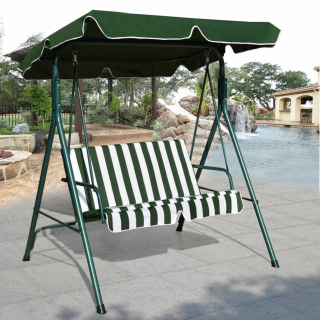 Outdoor Patio Canopy Swing Cushioned Chair Iron 2 Person Yard Furniture  Green With Regard To Trendy 2 Person Antique Black Iron Outdoor Swings (View 9 of 20)