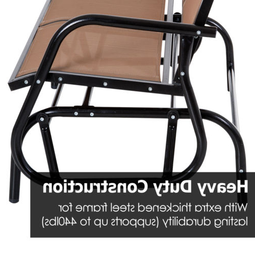 Outdoor Patio Glider Double Swing Chair Garden 2 Person Within Popular Rocking Love Seats Glider Swing Benches With Sturdy Frame (View 11 of 20)