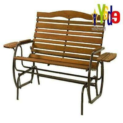 Outdoor Patio Swing Porch Rocker Glider Benches Loveseat Garden Seat Steel Pertaining To Recent Wood Glider Bench Outdoor Patio Furniture Garden Deck Rocker (View 12 of 20)