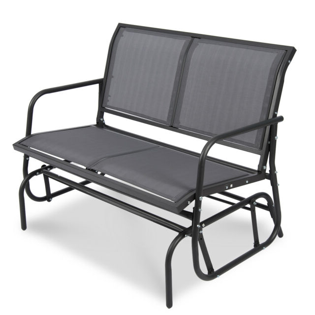 Outdoor Patio Swing Porch Rocker Glider Benches Loveseat Garden Seat Steel With Well Known Patio Garden Glider 2 Person Swing Bench Rocking Chair Porch Outdoor Furniture (View 11 of 20)