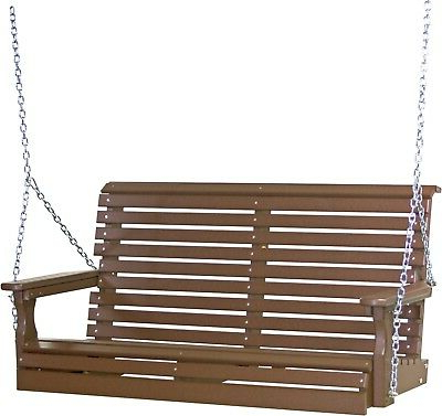 Outdoor Poly Lumber 4 Foot Rollback Plain Porch Swing In Chestnut Brown (View 9 of 20)
