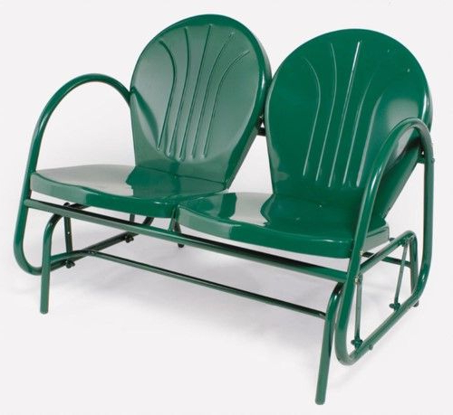 Outdoor Retro Metal Double Glider Benches Inside Popular Hunter Green Retro Metal Tulip Double Glider (View 9 of 20)