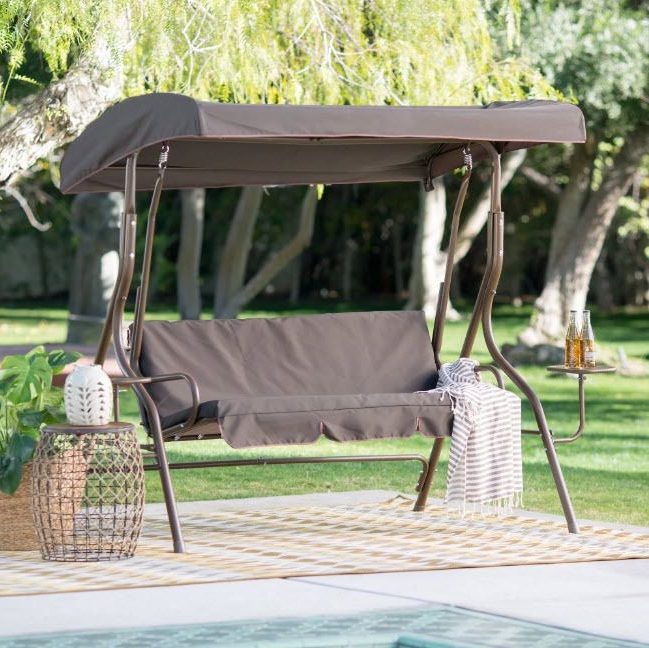 Outdoor Swing Canopy Patio 2 Person Side Tables Adjustable Inside Well Known Wicker Glider Outdoor Porch Swings With Stand (View 2 of 20)