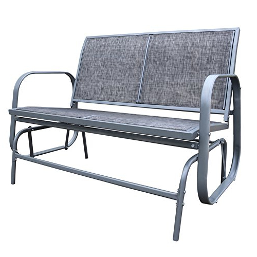 Outdoor Swing Glider Chairs With Powder Coated Steel Frame Pertaining To Famous Le Papillon Outdoor Glider Bench 2 Person Loveseat Chair Patio Swing, Grey (View 13 of 20)