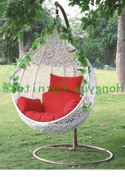 Outdoor White Rattan Garden Swing Chair With Cushions In Throughout 2020 Rattan Garden Swing Chairs (View 11 of 20)