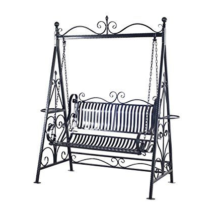 Outsunny 2 Person Outdoor Metal Garden Swing – Black (View 12 of 20)