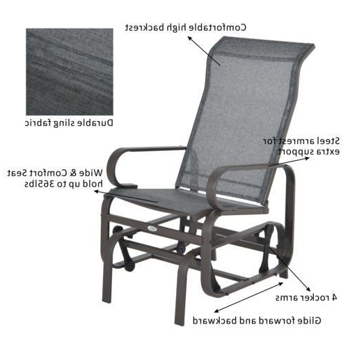 Outsunny Metal Mesh Fabric Single Outdoor Patio Glider Inside 2019 Outdoor Fabric Glider Benches (View 8 of 20)