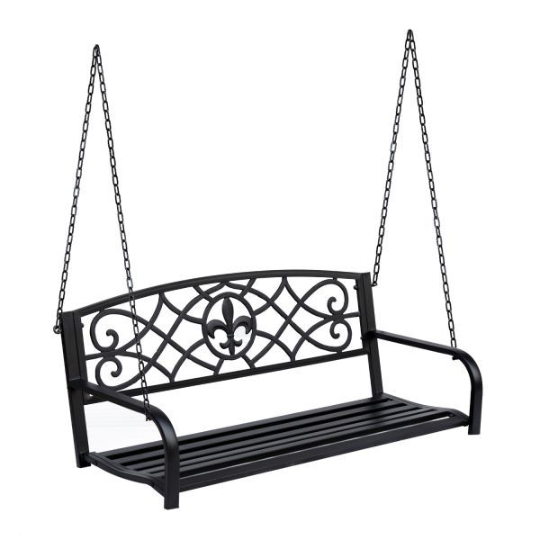 Outsunny Outdoor Steel Fleur De Lis Porch Swing Garden Pertaining To 2020 2 Person Antique Black Iron Outdoor Swings (View 11 of 20)