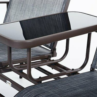 Outsunny Two Person Outdoor Mesh Fabric Patio Double Glider For Trendy Center Table Double Glider Benches (View 9 of 20)