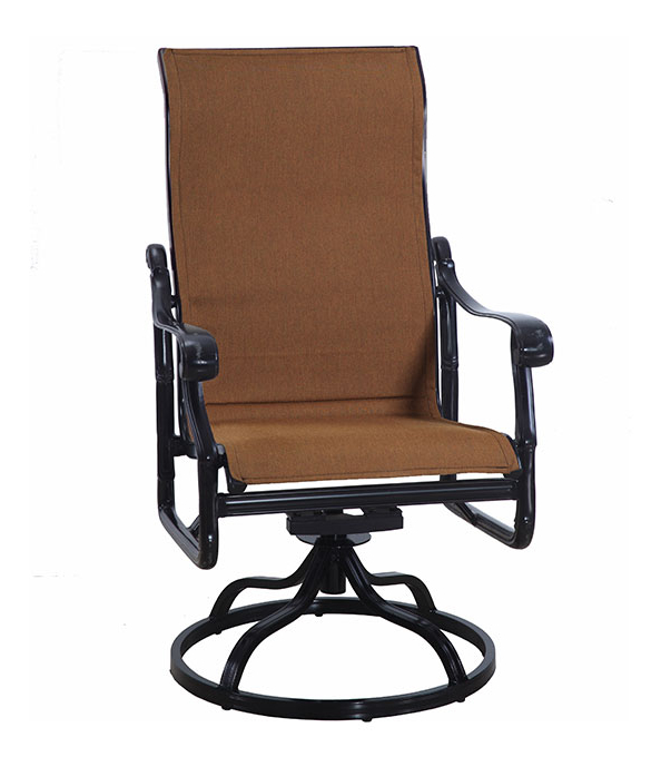 Padded Sling High Back Swivel Chairs Intended For 2020 San Marinogensun Luxury Cast Aluminum Patio Furniture (Gallery 12 of 20)