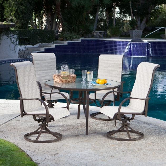 Padded Sling High Back Swivel Chairs Regarding 2019 High Back Swivel Rocker Patio Chairs Coral Coast Del Rey (View 13 of 20)