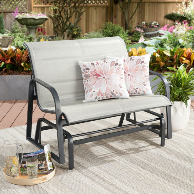 Padded Sling Loveseats With Cushions Pertaining To Most Recently Released Montrose Padded Sling Glider Bench Outdoor Garden Patio Porch Furniture Chair (Gallery 15 of 20)