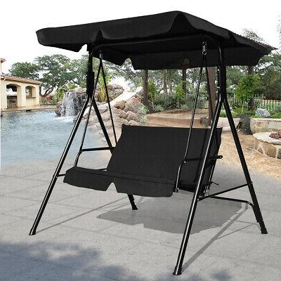 Patio Canopy Swing Glider W/ Loveseat Hammock Durable Steel Frame Outdoor Black (Gallery 3 of 20)