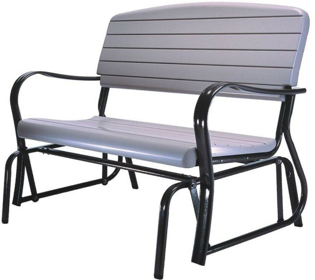 Patio Glider Bench Steel Frame Weather Resistant Surface Mounted Black Finish Within Well Known Black Outdoor Durable Steel Frame Patio Swing Glider Bench Chairs (View 2 of 20)