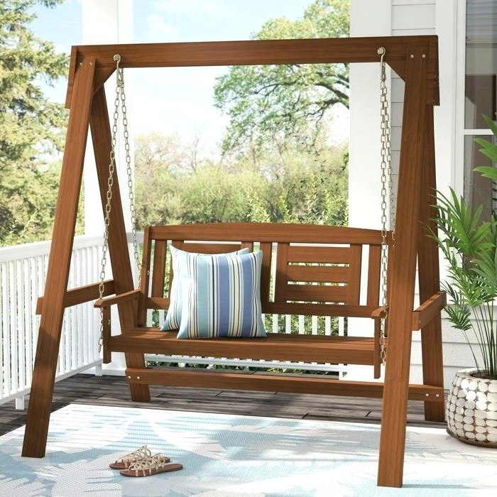 Patio Porch Swings With Stand For Trendy Wooden Hanging Porch Swing – Xanavi.biz (Gallery 8 of 20)