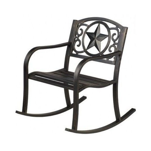 Patio Rocking Chair Rocker Texas Star Cast Iron Black Pertaining To Well Known Black Outdoor Durable Steel Frame Patio Swing Glider Bench Chairs (Gallery 16 of 20)