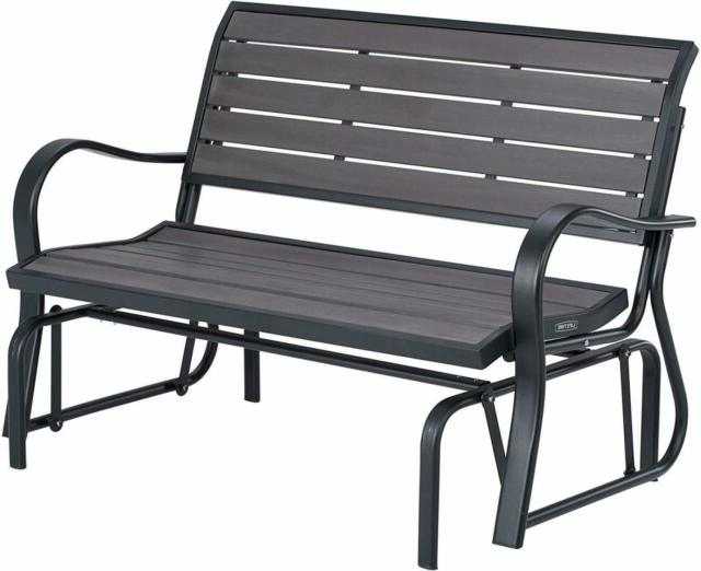 Patio Swing Loveseat Chair 2 People Seats Outdoor Glider Steel Frame Grey Bench With Well Liked Steel Patio Swing Glider Benches (Gallery 19 of 20)