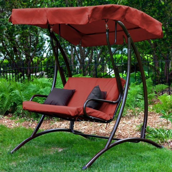 Patio Swing With Canopy Porch Outdoor For Adults Lawn Set Pertaining To Most Recent 3 Person Red With Brown Powder Coated Frame Steel Outdoor Swings (Gallery 12 of 20)