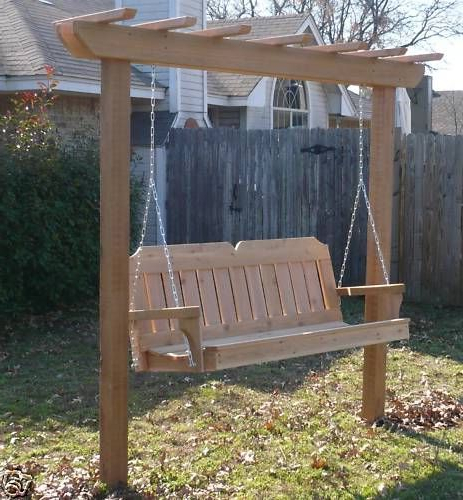 Pergola Porch Swings With Stand Inside 2019 New Cedar Wood Garden Arbor & 5 Ft Porch Swing Stand Heavy (View 2 of 20)