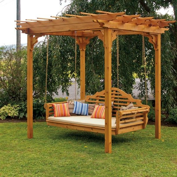 Pergola Porch Swings With Stand Within Best And Newest A&l Furniture Co. Cedar Pergola Swing Bed Stand (Gallery 10 of 20)