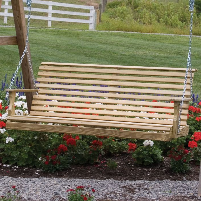 Plain Porch Swings Intended For 2020 Amish 5' Treated Pine Rollback Plain Porch Swing (View 17 of 20)