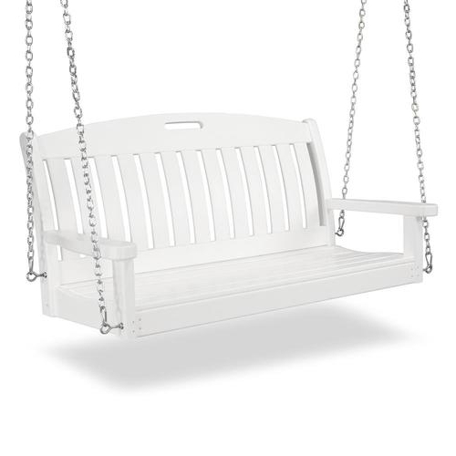 Polywood Nautical White Porch Swing At Lowes Pertaining To Well Known Nautical Porch Swings (View 11 of 20)