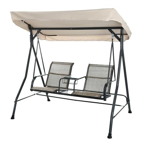 Popular 2 Person Black Steel Outdoor Swings In 2 Person Patio Swing With Table – Mkrdip (View 13 of 20)