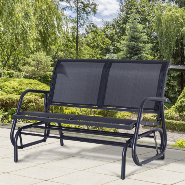 Popular 2 Person Black Steel Outdoor Swings Pertaining To Outsunny Patio Double 2 Person Glider Bench Rocker Porch Love Seat Swing Chair (Gallery 16 of 20)