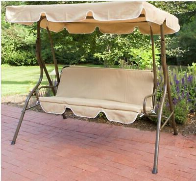 Popular Beige 2 Person Canopy Swing Chair Patio Hammock Seat Regarding 2 Person Outdoor Convertible Canopy Swing Gliders With Removable Cushions Beige (View 8 of 20)
