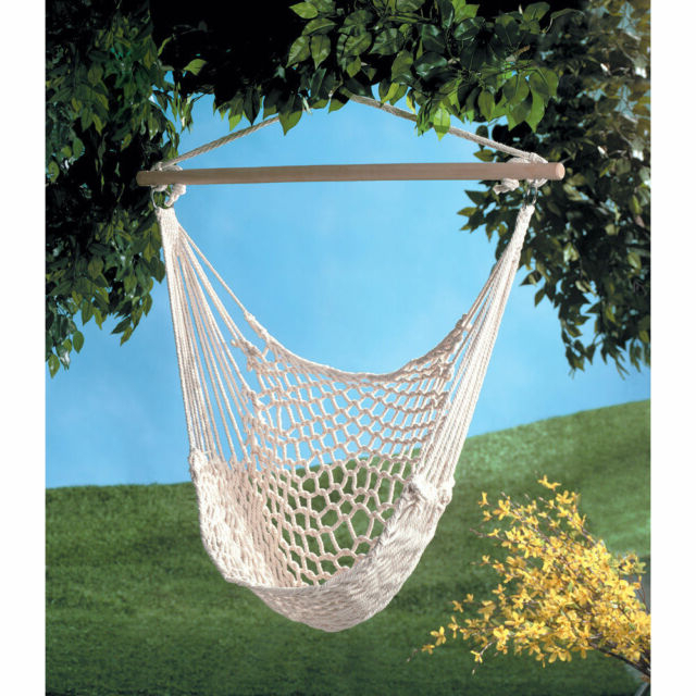 Popular Hanging Swing Chair Weave Rope Hammock Outdoor Porch Yard Tree Cotton Polyester Throughout Cotton Porch Swings (View 2 of 20)