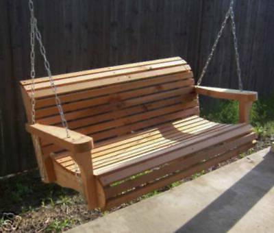 Popular New 7 Foot Cedar Porch Swing Tree Contoured Seat With Heavy Duty Chain & Springs (View 8 of 20)