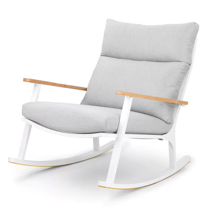 Popular Outdoor Swing Glider Chairs With Powder Coated Steel Frame Throughout Amazing New Design Home Garden Patio Outdoor Furniture General Use White Powder Coated Modern Metal Frame Rocking Chair (R291) – Buy Rocking (Gallery 14 of 20)