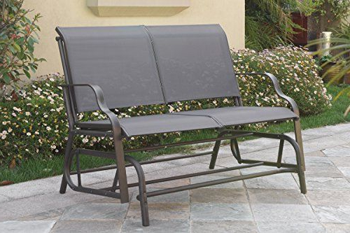 Popular Steel Patio Swing Glider Benches With Regard To Outdoor Patio Swing Glider Loveseat Bench Chair Steel Frame (Gallery 8 of 20)
