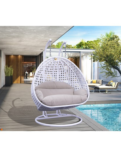 Popular Wicker Hanging 2 Person Egg Swing Chair In White Beige For 2 Person Gray Steel Outdoor Swings (View 17 of 20)