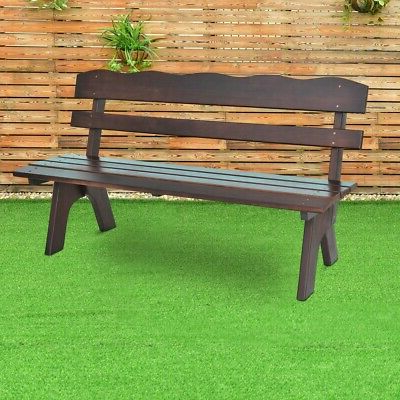 Popular Wood Garden Benches Pertaining To 5 Ft 3 Seats Outdoor Wooden Garden Bench Chair Patio & Garden Furniture  Benches (View 11 of 20)