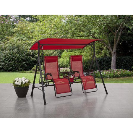 Porch Swing, Metal Patio Furniture, Outdoor In 3 Person Red With Brown Powder Coated Frame Steel Outdoor Swings (View 4 of 20)