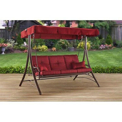 Porch Swings With Canopy Intended For 2019 Outdoor Porch Swing With Canopy Patio Steel Furniture (Gallery 17 of 20)